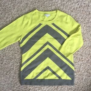 NY&CO crew-neck sweater in lime/charcoal chevron